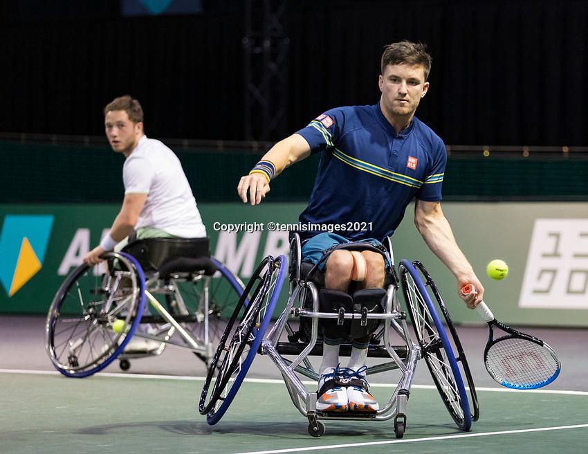 Rotterdam, The Netherlands,7 march  2021, ABNAMRO World Tennis Tournament, Ahoy,  <br /> Doubles Final Wheelchair: Alfie Hewett (GBR) / Gordon Reid (GBR).<br /> Photo: www.tennisimages.com/henkkoster