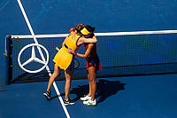 8th September 2021; New York, USA;  Emma Raducanu R of the Great Britain hugs Belinda Bencic of Switzerland after their womens singles quarterfinals of the 2021 US Open in New York, the United States on Sept. 8, 2021. Photo by /Xinhua SPU.S.-NEW YORK-TENNIS-US OPEN-DAY 10-QUARTERFINAL-WOMEN S SINGLES MichaelxNagle