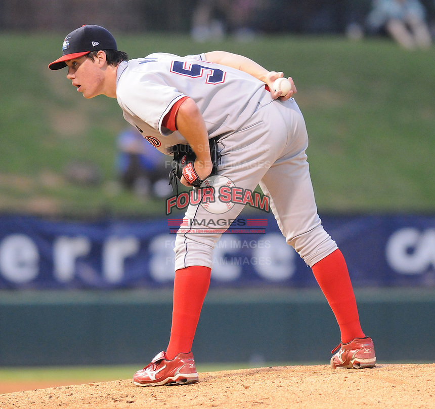 Sept. 17, 2009: Starting pitcher Trevor May (54) of the Lakewood BlueClaws in Game 3 of the South Atlantic League Championship Series between the Greenville Drive and the BlueClaws Sept. 17, 2009, at Fluor Field at the West End in Greenville, S.C.  Photo by: Tom Priddy/Four Seam Images