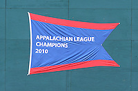 2010 Appalachian League Championship banner on the wall before the first game of the 2011 Championship Series between the Bluefield Blue Jays and the Johnson City Cardinals at Howard Johnson Field on September 3, 2011 in Johnson City, Tennessee.  The Cardinals won the game 4-3.  (Tony Farlow/Four Seam Images)