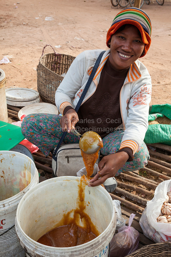 Cambodia.  Woman Selling Cooking Ingredients in Plastic Bag, Market near Siem Reap.
