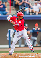5 March 2016: Washington Nationals catcher Pedro Severino in action during a Spring Training pre-season game against the Detroit Tigers at Space Coast Stadium in Viera, Florida. The Nationals defeated the Tigers 8-4 in Grapefruit League play. Mandatory Credit: Ed Wolfstein Photo *** RAW (NEF) Image File Available ***