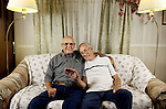 ( DENVER COLO. August 16, 2004)  Brothers Eugene Dukelow, 68, left, and Kent Stricker, 70, sit on the couch of Kent's home in Thornton.  They haven't seen each other for 63 years, and on Saturday August 14, they reunited.   (ELLEN JASKOL/ ROCKY MOUNTAIN NEWS )