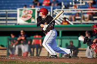 Batavia Muckdogs designated hitter Gunnar Schubert (44) hits a single during a game against the State College Spikes on July 9, 2018 at Dwyer Stadium in Batavia, New York.  State College defeated Batavia 3-0.  (Mike Janes/Four Seam Images)