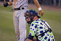 August 4, 2007: Catcher Jeff Dunbar of the Everett AquaSox looks into the dugout for a sign during a Northwest League game at Everett Memorial Stadium in Everett, Washington.