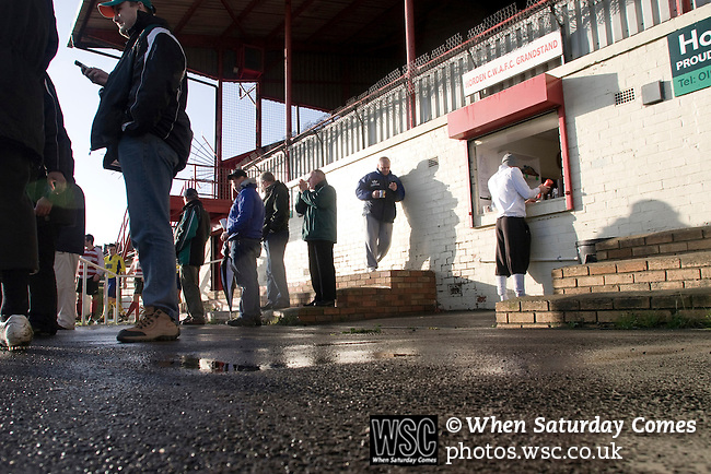 Horden Colliery Welfare 0 Billingham Synthonia 2, 24/10/2009. Welfare Park, Northern League Division One. Spectators buying refreshments at half-time during the Northern League division one fixture between Horden Colliery Welfare (red) and Billingham Synthonia, as seen from the club's main stand at their Welfare Park, Horden. Horden won division two in the previous season but lost this fixture 2-0 against their higher-placed opponents. Photo by Colin McPherson.