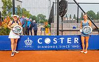 Amstelveen, Netherlands, 10 Juli, 2021, National Tennis Center, NTC, Amstelveen Womans Open, Doubles final: Suzan Lamens (NED) and Quirine Lemoine (NED) (R) by Coster banner<br /> Photo: Henk Koster/tennisimages.com