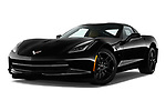 Stock pictures of low aggressive front three quarter view of a 2019 Chevrolet Corvette Stingray Coupe 2LT 3 Door Targa