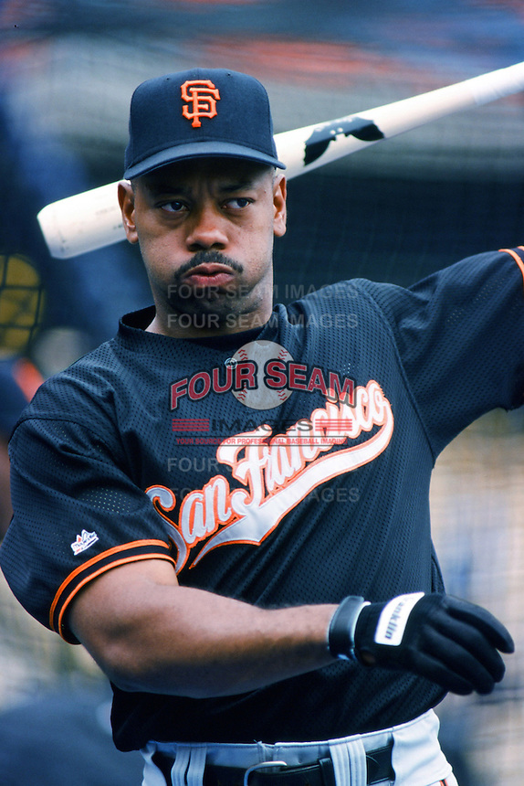 Ellis Burks of the San Francisco Giants before a 1999 Major League Baseball season game against the Los Angeles Dodgers at Dodger Stadium in Los Angeles, California. (Larry Goren/Four Seam Images)