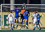 26 October 2019: University of Vermont Catamount Goalkeeper Aron Runarsson, a Senior from Akureyri, Iceland, makes a second half save against the University of Massachusetts Lowell River Hawks at Virtue Field in Burlington, Vermont. The Catamounts rallied to defeat the River Hawks 2-1, propelling the Cats to the America East Division 1 conference playoffs. Mandatory Credit: Ed Wolfstein Photo *** RAW (NEF) Image File Available ***