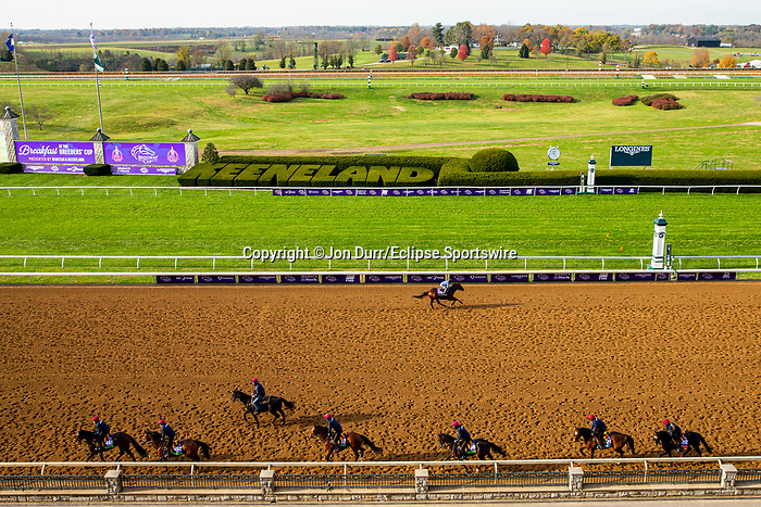 November 5, 2020: The Aidan O'Brien group of trainees (bottom) backtrack as Four Wheel Drive, trained by trainer Wesley A. Ward, exercises in preparation for the Breeders' Cup Turf Sprint at Keeneland Racetrack in Lexington, Kentucky on November 5, 2020. Jon Durr/Eclipse Sportswire/Breeders Cup