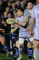 Horacio Agulla of Leicester Tigers loses the ball in the tackle during the LV= Cup semi final match between Bath Rugby and Leicester Tigers at The Recreation Ground, Bath (Photo by Rob Munro, Fotosports International)