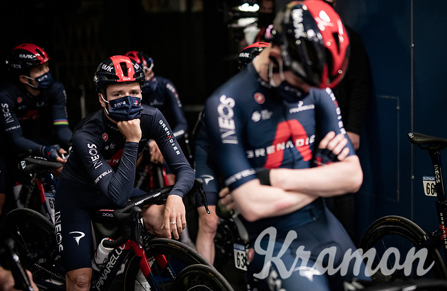 Tom Pidcock (GBR/Ineos Grenadiers) during the team presentation inside the empty Spirou Basketbal Dome in Charleroi <br /> <br /> 85th La Flèche Wallonne 2021 (1.UWT)<br /> 1 day race from Charleroi to the Mur de Huy (BEL): 194km<br /> <br /> ©kramon