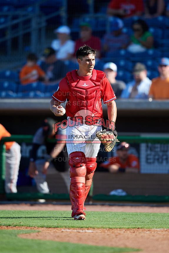 Philadelphia Phillies catcher Matt McBride (33) during a Grapefruit League Spring Training game against the Baltimore Orioles on February 28, 2019 at Spectrum Field in Clearwater, Florida.  Orioles tied the Phillies 5-5.  (Mike Janes/Four Seam Images)