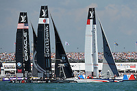 Groupama Team France, JULY 23, 2016 - Sailing: Groupama Team France leads SoftBank Team Japan and Oracle Team USA during day one of the Louis Vuitton America's Cup World Series racing, Portsmouth, United Kingdom. (Photo by Rob Munro/Stewart Communications)