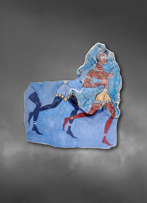 """The Minoan 'Black Captain' fresco wall art from the House of Frescoes, Knossos Palace, 1350-1300 BC . Heraklion Archaeological Museum.,grey background<br /> <br /> The fresco probably depicts a running military detachment, the leader is wearing a Minoan loin cloth and holds two spears, he has been named """"Captain of the Blacks"""" as those follwing him are probably black African soldiers in sercice of the palace<br /> <br /> This scene may be depicting an excersise or sport similar to the Greek Hoplite race"""