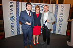 Will Maddox and Dominic Booth who both entered a block of flats on fire and raised the alarm, ensuring all occupants were evacuated before the fire service arrived on the scene, received their certificates from The First Minister for Scotland, the Right Honourable. Nicola Sturgeon MSP during the Brave@Heart awards at Edinburgh Castle this evening.<br /> Pic Kenny Smith, Kenny Smith Photography<br /> Tel 07809 450119