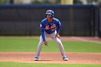 New York Mets Mark Vientos (87) leads off during a Minor League Spring Training game against the Houston Astros on April 27, 2021 at FITTEAM Ballpark of the Palm Beaches in Palm Beach, Fla.  (Mike Janes/Four Seam Images)