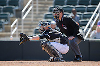 Kannapolis Intimidators catcher Casey Schroeder (10) sets a target as home plate umpire Jason Johnson looks over his shoulder during the game against the Delmarva Shorebirds at Kannapolis Intimidators Stadium on April 13, 2016 in Kannapolis, North Carolina.  The Intimidators defeated the Shorebirds 8-7.  (Brian Westerholt/Four Seam Images)