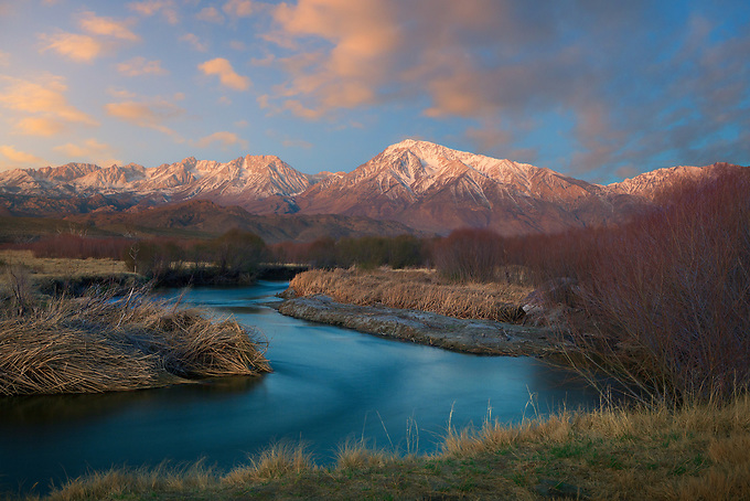Sunrise light and alpenglow in the Owens River Valley.