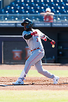 Scottsdale Scorpions shortstop Alfredo Rodriguez (3), of the Cincinnati Reds organization, follows through on his swing during an Arizona Fall League game against the Peoria Javelinas at Peoria Sports Complex on October 18, 2018 in Peoria, Arizona. Scottsdale defeated Peoria 8-0. (Zachary Lucy/Four Seam Images)