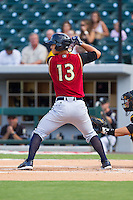Rob Refsnyder (13) of the Scranton/Wilkes-Barre RailRiders at bat against the Charlotte Knights at BB&T Ballpark on July 17, 2014 in Charlotte, North Carolina.  The Knights defeated the RailRiders 9-5.  (Brian Westerholt/Four Seam Images)