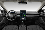 Stock photo of straight dashboard view of 2021 Ford Mustang-Mach-E Premium 5 Door SUV Dashboard