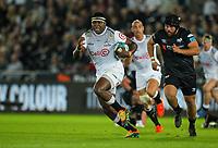 8th October 2021;  Swansea.com Stadium, Swansea, Wales; United Rugby Championship, Ospreys versus Sharks; Ntuthuko Mchunu of Cell C Sharks makes a break