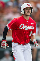 Houston Cougars outfielder Landon Appling (1) runs to first base during the NCAA baseball game against the Texas Longhorns on June 6, 2014 at UFCU Disch–Falk Field in Austin, Texas. The Longhorns defeated the Cougars 4-2 in Game 1 of the NCAA Super Regional. (Andrew Woolley/Four Seam Images)