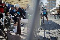 Sir Bradley Wiggins (GBR/Sky) prepping for his final TT as a World TT Champion<br /> <br /> 3 Days of De Panne 2015<br /> stage 3b: De Panne-De Panne TT