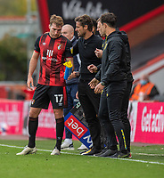 Bournemouth manager Jason Tindall  (centre) gives instructions to Bournemouth's Jack Stacey (left) <br /> <br /> Photographer David Horton/CameraSport<br /> <br /> The EFL Sky Bet Championship - Bournemouth v Queens Park Rangers - Saturday 17th October 2020 - Vitality Stadium - Bournemouth<br /> <br /> World Copyright © 2020 CameraSport. All rights reserved. 43 Linden Ave. Countesthorpe. Leicester. England. LE8 5PG - Tel: +44 (0) 116 277 4147 - admin@camerasport.com - www.camerasport.com