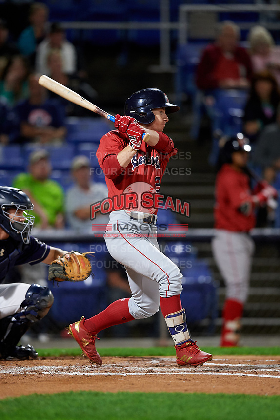 Portland Sea Dogs left fielder Danny Mars (2) follows through on a swing during a game against the Binghamton Rumble Ponies on August 31, 2018 at NYSEG Stadium in Binghamton, New York.  Portland defeated Binghamton 4-1.  (Mike Janes/Four Seam Images)