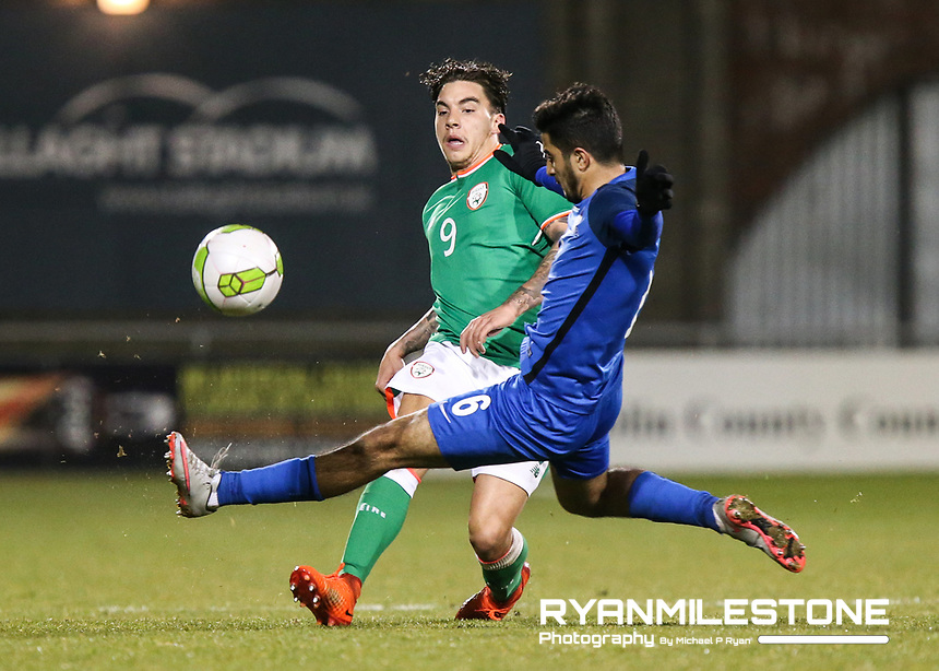 Republic of Ireland's Reece Grego-Cox in action against Gismat Aliyev of Azerbaijan during the 2019 UEFA Under 21 European Qualifying Round between the Republic of Ireland and Azerbaijan on Tuesday 27th March 2018 at Tallaght Stadium, Dublin. Photo By Michael P Ryan
