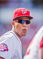 20 September 2015: Washington Nationals catcher Pedro Severino watches action from the dugout during a game against the Miami Marlins at Nationals Park in Washington, DC. The Nationals defeated the Marlins 13-3 to take the final game of their 4-game series. Mandatory Credit: Ed Wolfstein Photo *** RAW (NEF) Image File Available ***