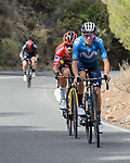 Enric Mas (ESP) Movistar Team and race leader Red Jersey Primoz Roglic (SLO) Jumbo-Visma ahead of the GC group during Stage 9 of La Vuelta d'Espana 2021, running 188km from Puerto Lumbreras to Alto de Velefique, Spain. 22nd August 2021.     <br /> Picture: Cxcling   Cyclefile<br /> <br /> All photos usage must carry mandatory copyright credit (© Cyclefile   Cxcling)