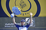 Elia Viviani (ITA) Quick-Step Floors holds onto the race lead after Stage 4 The Municipality Stage of the Dubai Tour 2018 the Dubai Tour's 5th edition, running 172km from Skydive Dubai to Hatta Dam, Dubai, United Arab Emirates. 9th February 2018.<br /> Picture: LaPresse/Fabio Ferrari | Cyclefile<br /> <br /> <br /> All photos usage must carry mandatory copyright credit (© Cyclefile | LaPresse/Fabio Ferrari)