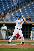 Dunedin Blue Jays left fielder Cal Stevenson (8) at bat during a Florida State League game against the Clearwater Threshers on April 4, 2019 at Spectrum Field in Clearwater, Florida.  Dunedin defeated Clearwater 11-1.  (Mike Janes/Four Seam Images)