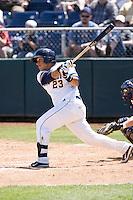 Everett AquaSox catcher Larry Gonzalez #23 at bat during a game against the Eugene Emeralds at Everett Memorial Stadium on June 26, 2011 in Everett, WA.  Eugene defeated Everett 14-4.  (Ronnie Allen/Four Seam Images)