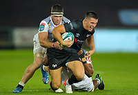 8th October 2021;  Swansea.com Stadium, Swansea, Wales; United Rugby Championship, Ospreys versus Sharks; Owen Watkin of Ospreys is tackled by Phepsi Buthelezi and Kerron van Vuuren of Cell C Sharks