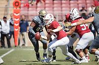 Stanford, CA - September 15, 2018: Davis Mills during the Stanford vs UC Davis football game Saturday at Stanford Stadium.<br /> <br /> The Cardinal scored 30. UC Davis 10.