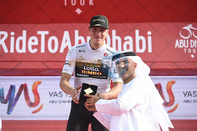 Danny Van Poppel (NED) Team Lotto NL-Jumbo takes over the young riders White Jersey at the end of Stage 2 of the 2018 Abu Dhabi Tour, Yas Island Stage running 154km from Yas Mall to Yas Beach, Abu Dhabi, United Arab Emirates. 22nd February 2018.<br /> Picture: LaPresse/Fabio Ferrari   Cyclefile<br /> <br /> <br /> All photos usage must carry mandatory copyright credit (© Cyclefile   LaPresse/Fabio Ferrari)