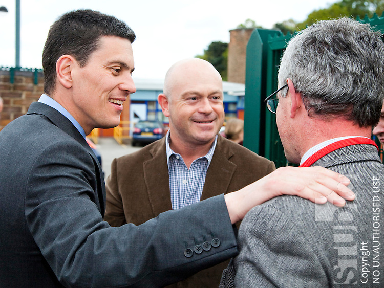 Ross Kemp, David Miliband and Local MP Gilian Greenwood on the Campaing Trail at whitegate school