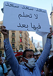 Anti-government protesters shout slogans during a protest against former Prime Minister Saad Hariri in downtown Beirut, Lebanon, 21 October 2020. Anti-government protesters gathered after reports that Hariri will be designated to form a new government, a year after he was forced to resign over nation-wide protests. Photo by Haitham Moussawi