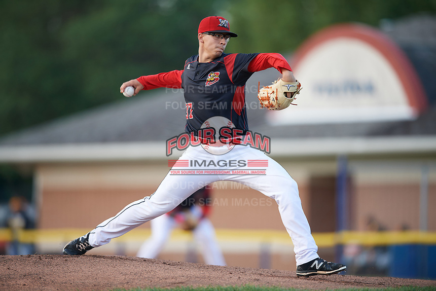 Batavia Muckdogs starting pitcher Alejandro Mateo (37) delivers a pitch during a game against the West Virginia Black Bears on June 24, 2017 at Dwyer Stadium in Batavia, New York.  The game was suspended in the bottom of the third inning and completed on June 25th with West Virginia defeating Batavia 6-4.  (Mike Janes/Four Seam Images)