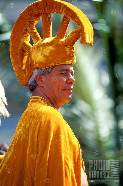 EDITORIAL ONLY. Hawaiian man in traditional garb portraying king at Aloha Week Festival