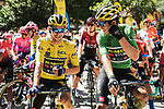 Team Mates race leader Primoz Roglic (SLO) and Wout Van Aert (BEL) Team Jumbo-Visma line up for the start of Stage 4 of Criterium du Dauphine 2020, running 157km from Ugine to Megeve, France. 15th August 2020.<br /> Picture: ASO/Alex Broadway | Cyclefile<br /> All photos usage must carry mandatory copyright credit (© Cyclefile | ASO/Alex Broadway)