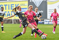 Loes Van Mullem (33) of Eendracht Aalst pictured in a duel with Ludmila Matavkova (9) of Sporting Charleroi during a female soccer game between Eendracht Aalst and Sporting Charleroi on the 18 th and last matchday before the play offs of the 2020 - 2021 season of Belgian Scooore Womens Super League , Saturday 27 th of March 2021  in Aalst , Belgium . PHOTO SPORTPIX.BE | SPP | DAVID CATRY