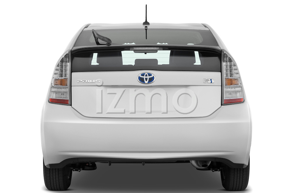 Straight rear view of a 2010 Toyota Prius 2