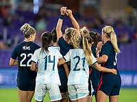 ORLANDO, FL - FEBRUARY 24: Jaelin Howell #3 of the USWNT holds her hands up on a corner kick during a game between Argentina and USWNT at Exploria Stadium on February 24, 2021 in Orlando, Florida.