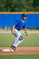 Toronto Blue Jays second baseman Cullen Large (3) waits for a warmup throw from the catcher during an Instructional League game against the Pittsburgh Pirates on October 14, 2017 at the Englebert Complex in Dunedin, Florida.  (Mike Janes/Four Seam Images)